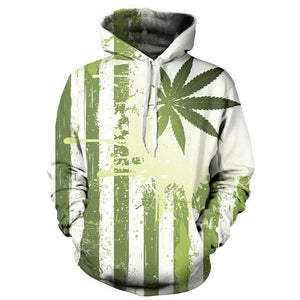 Weed Flag Hoodie 2019 Long Sleeve Casual 3D Hooded Sweatshirt - Dope Clothes