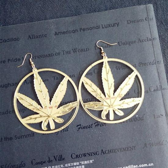 Large Hoop Style 420 Hoop Golden Colored Earrings - Dope Clothes