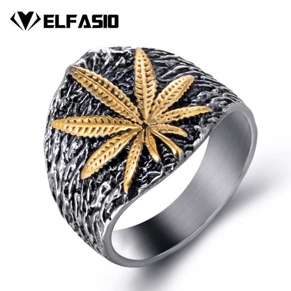 Mens Stainless Steel Marijuana Leaf Ring - Dope Clothes
