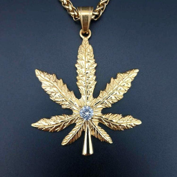 Faux Diamond Hemp Leaf Necklaces Weed Accessories Pot Leaf Necklace