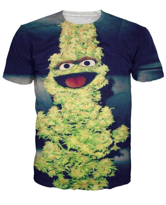 Funny 3D Print Summer Style TEE Oscar The Nug(Grinch) Sesame Street Parody T-Shirt - Dope Clothes
