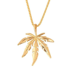 Small Herb 420 Charm Necklace Canna Leaf Pendant Necklace - Dope Clothes