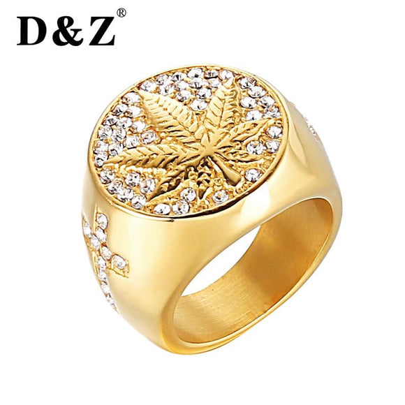 Weed leaf Gold Colored 316L Stainless Steel Ganja Ring - Dope Clothes