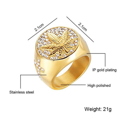 🌱👕 👖jewelry; $11.39 vs $11.39 Weed leaf Gold Colored 316L Stainless Steel Ganja Ring