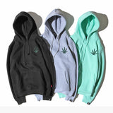 Weed Leaf Embroidered High-Fashion Pull Over Hoodie - Dope Clothes