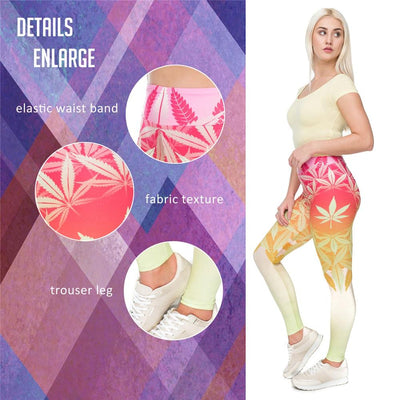 Zohra Pink and Yellow Vibrant Colors Sexy Woman High Waist Pot leaf Leggings