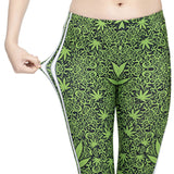 Stretch Women Weed White Decal Print Fitness leggings - Dope Clothes