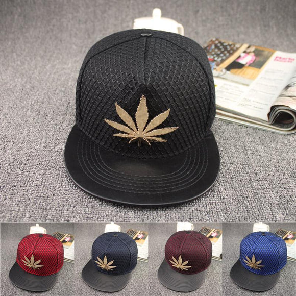 Pot Leaf Style Metal Emblem Casual Mesh  Snap Back Weed Hat