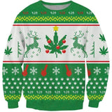 Ugly Christmas Weed Leaf Mistle Pot Xmas Sweater - Dope Clothes
