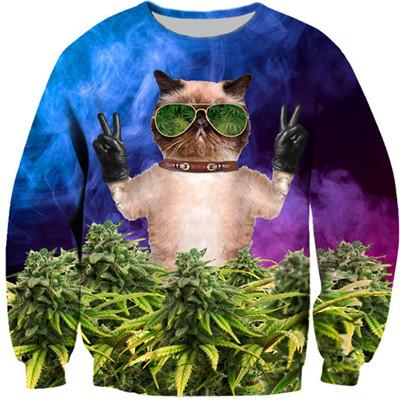 Dope Cat Cosmos Weed Space 3D Sweatshirt - Dope Clothes