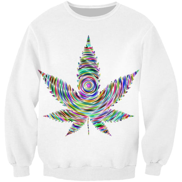 Cosmos Latest Rainbow Trippy Meds Colorful Weed Leaf Men Women Long Sleeve - Dope Clothes