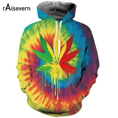 Tie Die Swirl Colorful Marijuana Leaf 3D Pot Hoodie - Dope Clothes