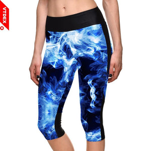 Women Fitness Capris Yoga Pants Smoke Stretch Leggings