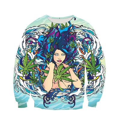 Hydro Mermaid Aqua Cannabis Weed Sweater - Dope Clothes