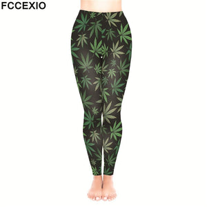 Women Leggings High Waist Fitness Weed Leaves 3D Print Leggings - Dope Clothes
