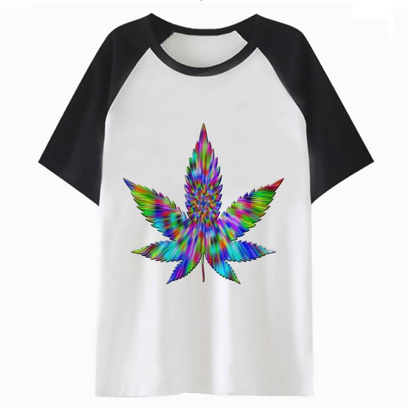 Trippy Weed Pot Leaf Shirt for men f - Dope Clothes