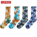 Winter Fashion Tie dyed Weed Long Socks - Dope Clothes