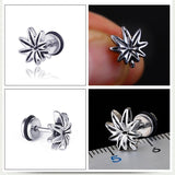 2PC Punk Style Titanium Weed Leaf Earrings Stud - Dope Clothes