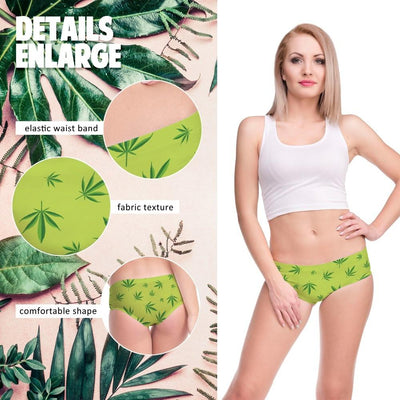 Hemp Leaves Green Cannabis Ladies Panties