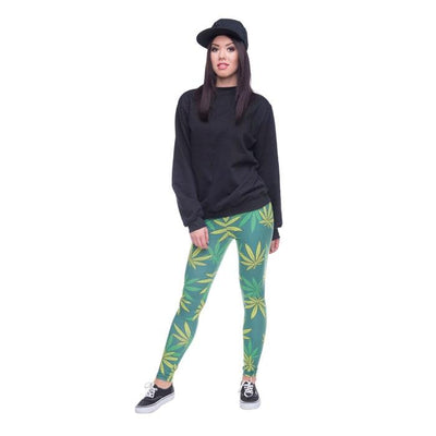 Yellow Green Pot Leaves Basic 420 Leggings - Dope Clothes