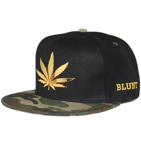 Dope Hats Pot Leaf Fashion Blunt Metal Logo Snapback Cap