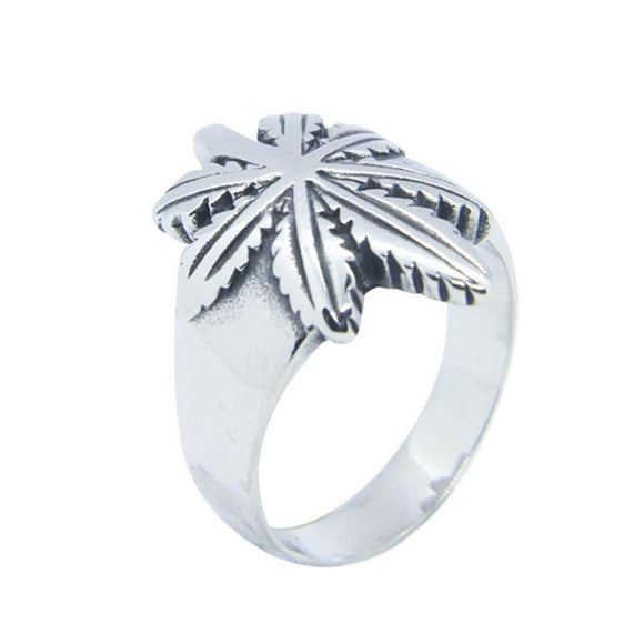 Smoke and Chill Dope Silver Colored Weed Leaf Ring - Dope Clothes