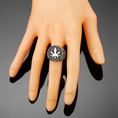 Stoners Paradise Silver Color Weed Leaf Rings - Dope Clothes