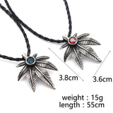 Hot Rhinestone Tribal Pot Leaf Red & Blue Gem Cannabis Accessories Necklace