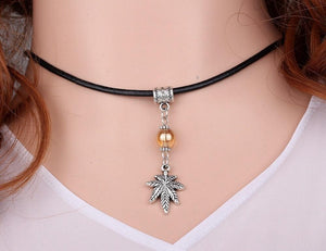 Hemp Leaf Charm Leather Choker Dangling Stoner Necklace Pendant