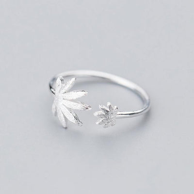 High Quality 420 Sterling Silver Stoner Cannabis Leaf Open Ring - Dope Clothes