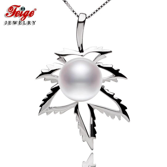 REAL Pearl Pendant Cannabis Leaf Themed Sterling Silver Necklace