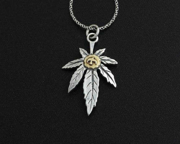 Sterling Silver Flying Bird + Hemp Leaf Pendant Necklace