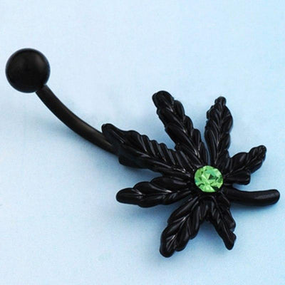 Cannabis Leaf Navel Smoker Green Gem Body Jewelry