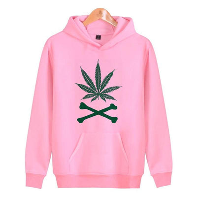 Cute Pink Ladies Stoner Hoodies Weed and Crossbones Sweatshirt