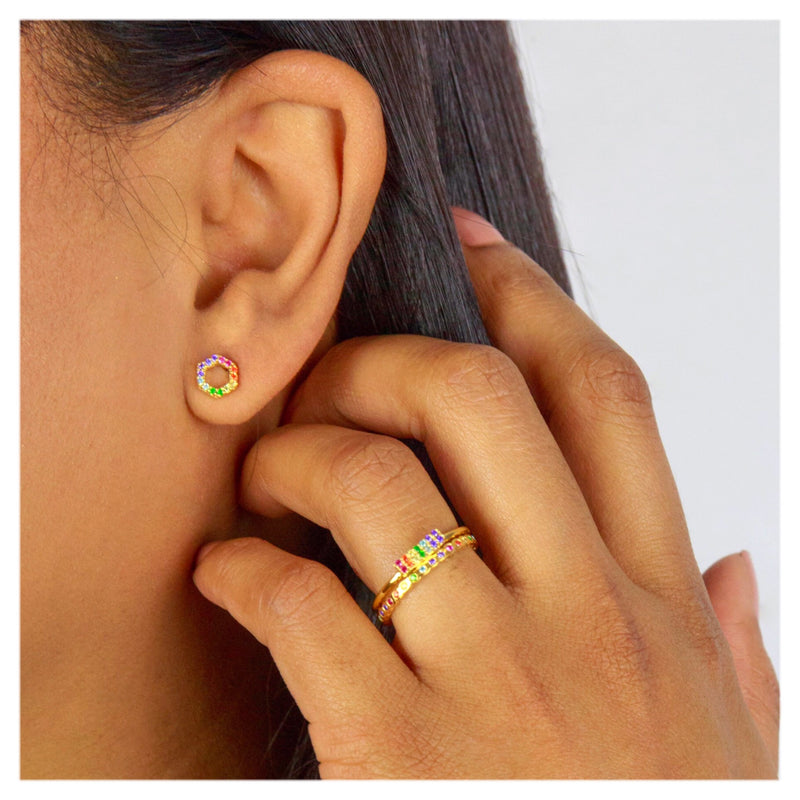 SPECTRUM HEXAGON STUDS - 18 KARAT GOLD VERMEIL