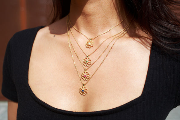 JASMINE DIAMOND NECKLACE - 18 KARAT GOLD VERMEIL