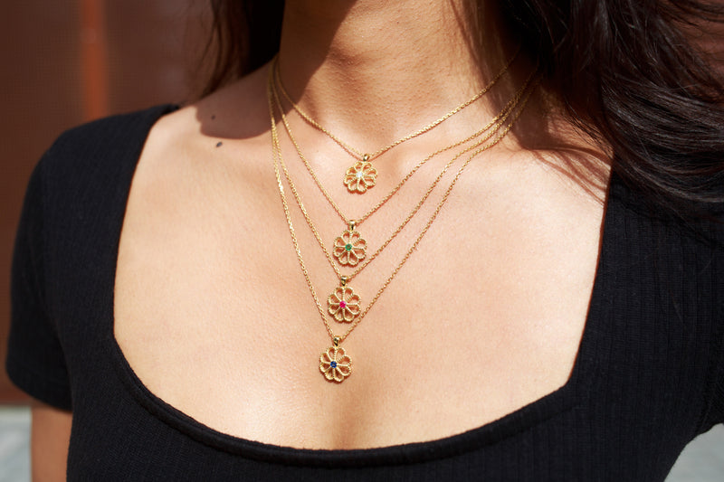 NEW JASMINE RUBY NECKLACE - 18 KARAT GOLD VERMEIL