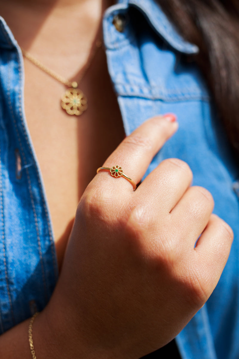 NEW JASMINE EMERALD RING - 18 KARAT GOLD VERMEIL
