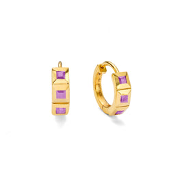 NEW ELEMENT AMETHYST HUGGIE HOOPS - 18 KARAT GOLD VERMEIL
