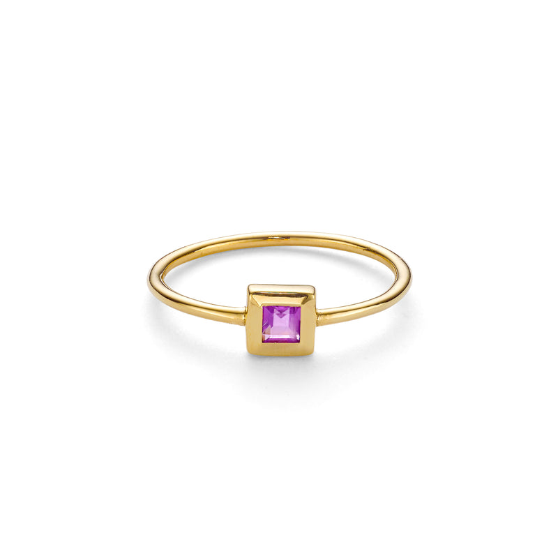 NEW ELEMENT AMETHYST RING - 18 KARAT GOLD VERMEIL