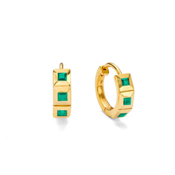 ELEMENT EMERALD HUGGIE HOOPS - 18 KARAT GOLD VERMEIL