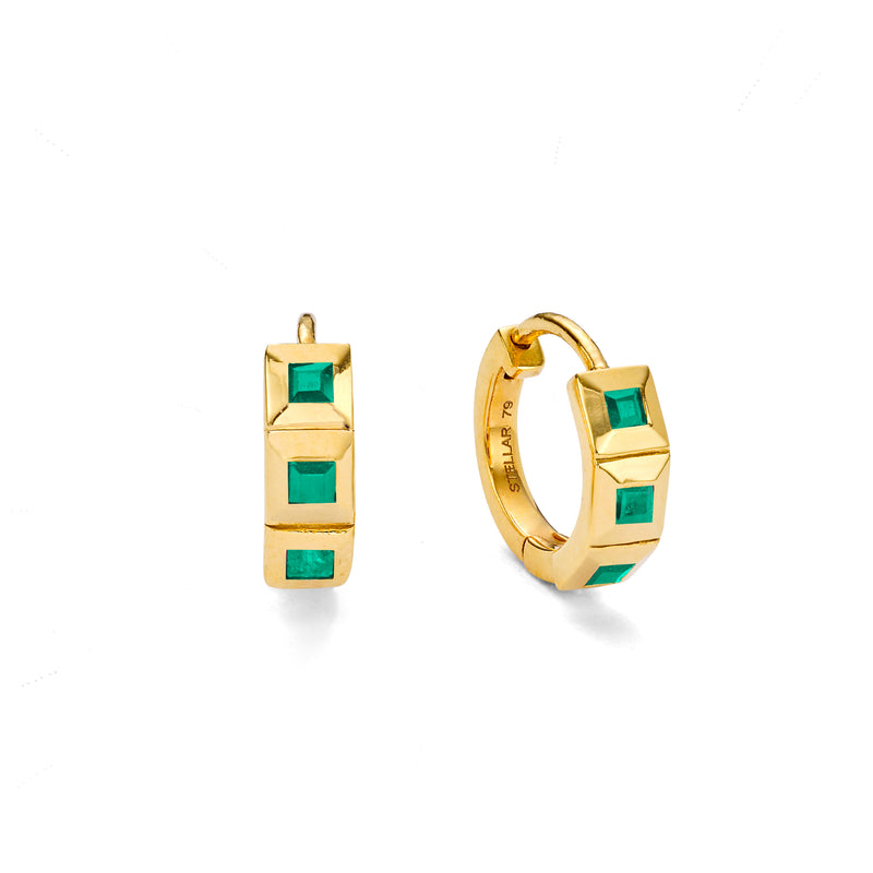 NEW ELEMENT EMERALD HUGGIE HOOPS - 18 KARAT GOLD VERMEIL
