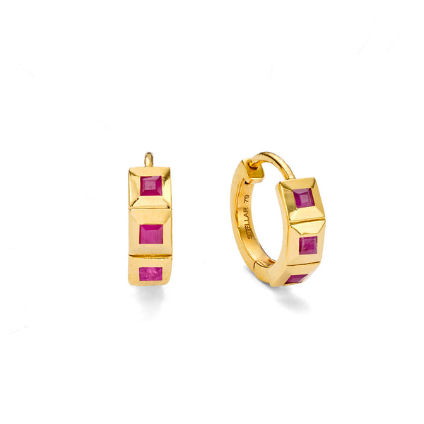 NEW ELEMENT RUBY HUGGIE HOOPS - 18 KARAT GOLD VERMEIL