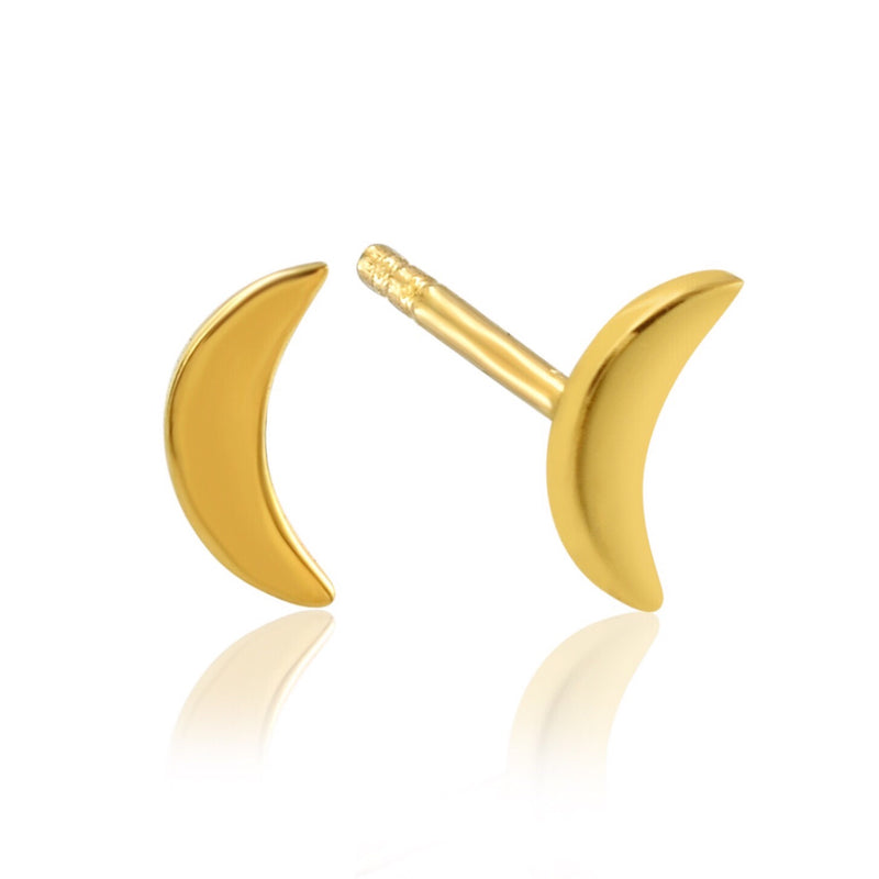 LUNE STUDS - 18 KARAT GOLD VERMEIL - CHARITY DONATION: 100% of Profits will be donated to the Stephen Lawrence Charitable Trust