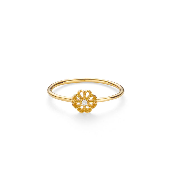 NEW JASMINE DIAMOND RING - 18 KARAT GOLD VERMEIL