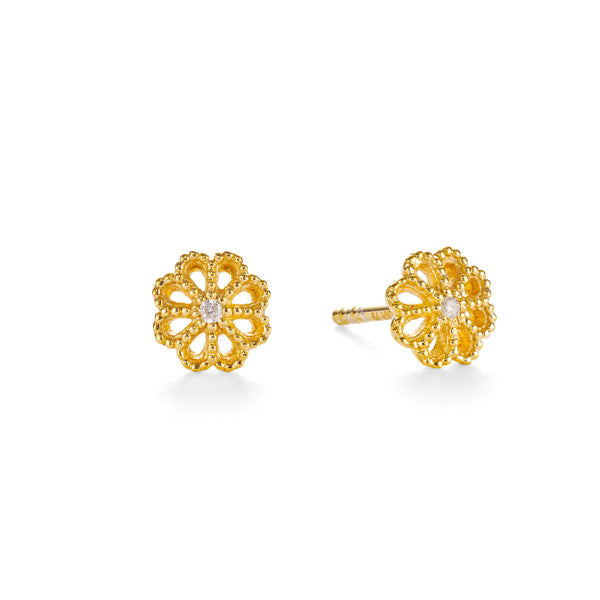 NEW JASMINE DIAMOND STUDS - 18 KARAT GOLD VERMEIL