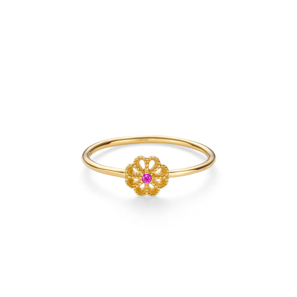 NEW JASMINE RUBY RING - 18 KARAT GOLD VERMEIL