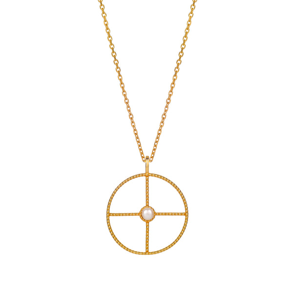 LA PERLE HALO NECKLACE - 18 KARAT GOLD VERMEIL