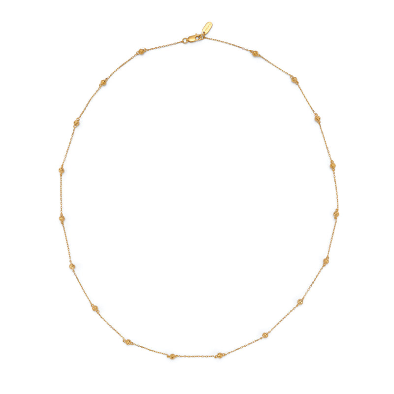 LUNE ENGRAVED LONG SPHERE CHAIN - 18 KARAT GOLD VERMEIL