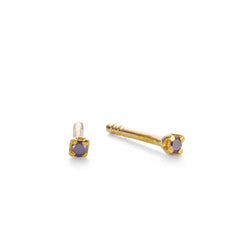 NEW PRECIOUS BLACK DIAMOND STUDS - 18 KARAT GOLD VERMEIL